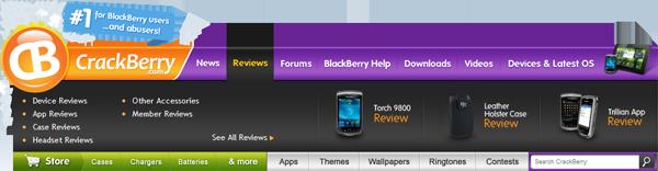 CrackBerry.com Navigation Bar - Reviews