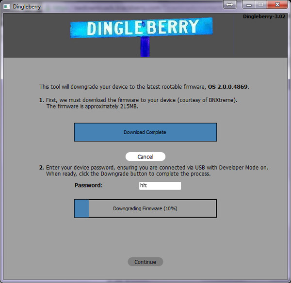Downgrading the PlayBook's OS after DingleBerry 3.x downloads the proper files for you