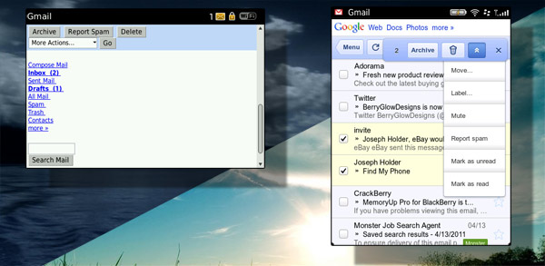 Gmail - old & new, night & day
