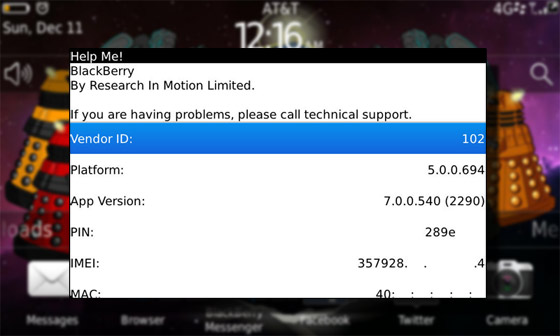 Help Me! Screen on the BlackBerry Torch Smartphones