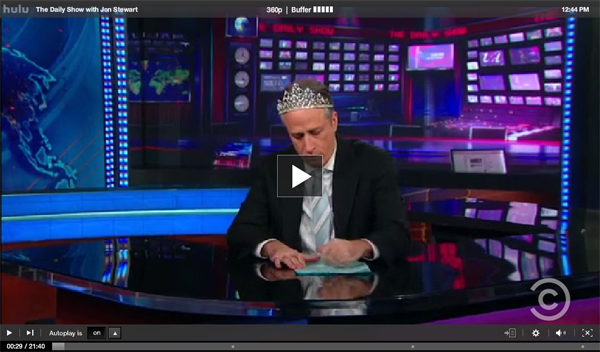 John Stewart of the Daily Show Celebrates the addition of HuluBerry to the PlayBook