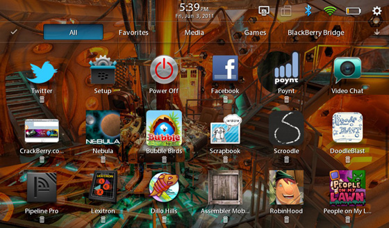 BlackBerry PlayBook icons breathe