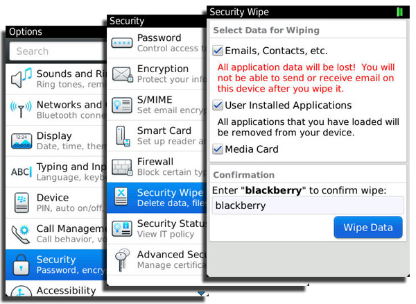Wipe your personal data from your BlackBerry