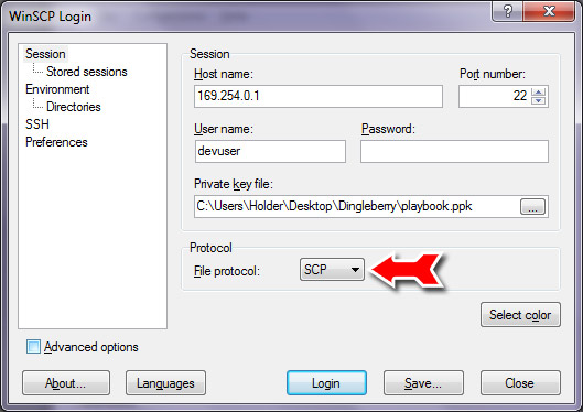 Login information for WinSCP