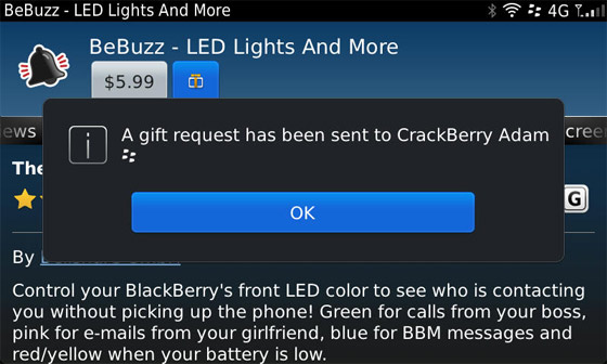 Requesting gifts in BlackBerry App World