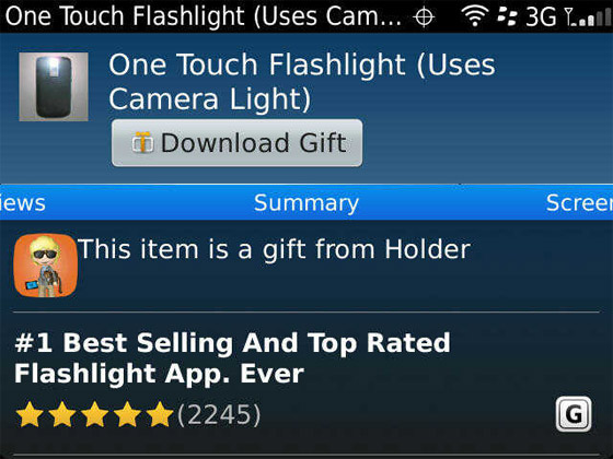 And Adam gets a free flashlight app!