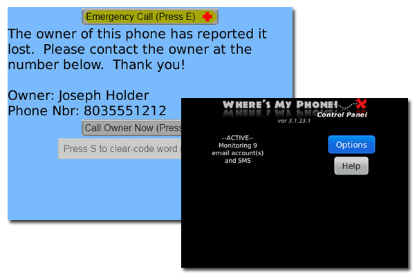 Where's My Phone? alert screen and app screen