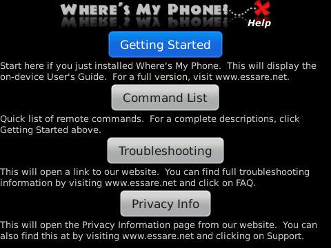 WMP Help Screen