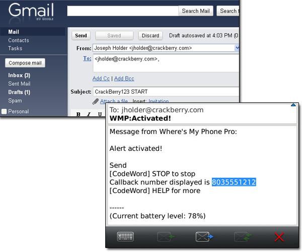 Alert activation email and results