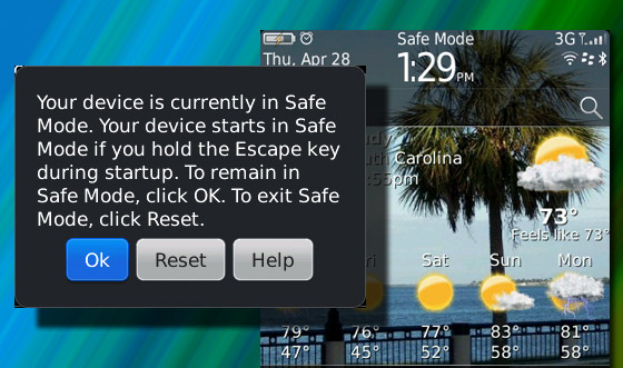 Safe Mode on your BlackBerry