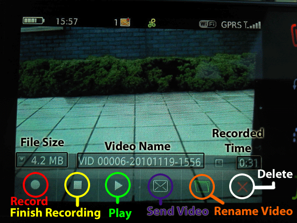 Video camera options after recording