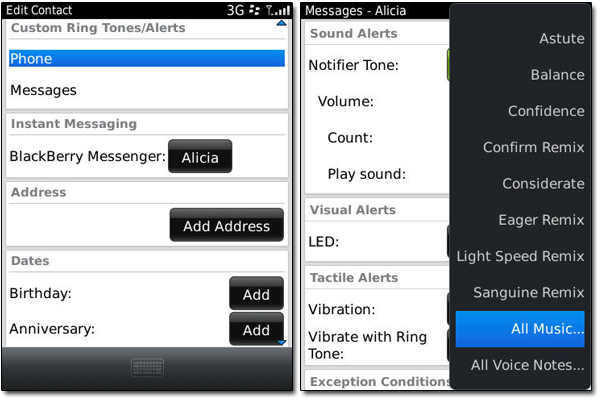 Contacts - Adding a ringtone to a contact