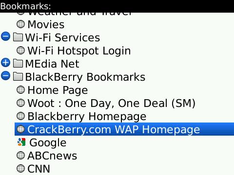 Browser bookmark list