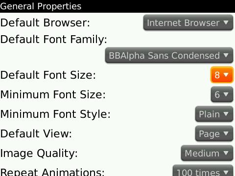Browser font option