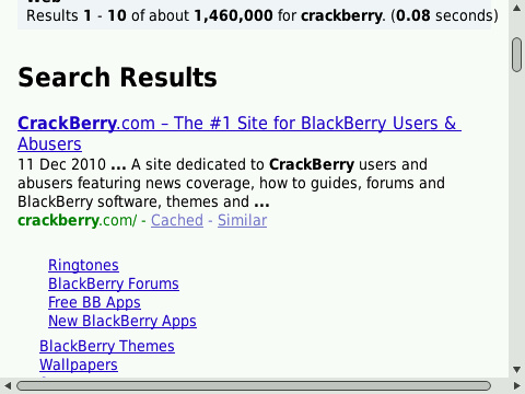 Browser search results