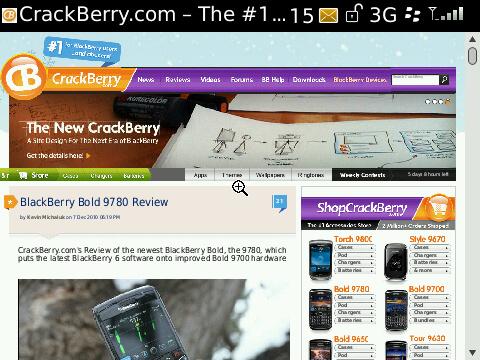CrackBerry web view