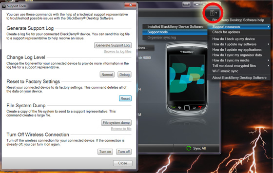 Start a BlackBerry Factory Reset