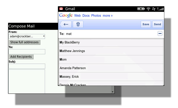 Finding contacts at the gmail mobile site