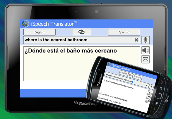 iSpeech Translator for BlackBerry and the BlackBerry PlayBook