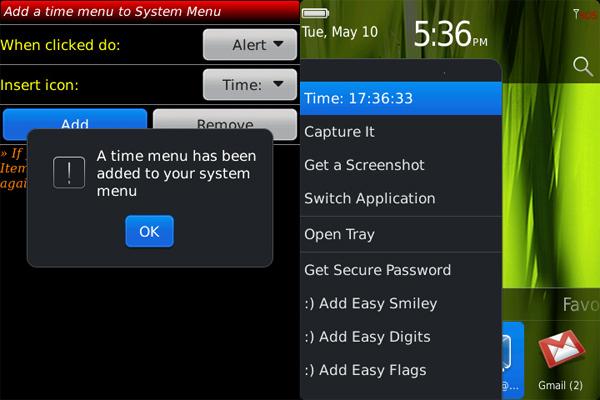 Time menu