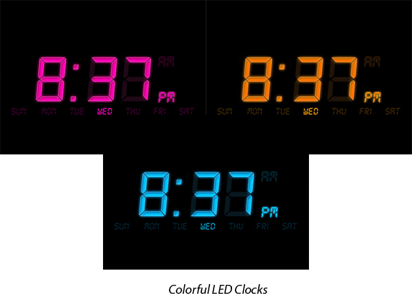 Musical clock, LED display