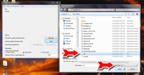 Load the RSA key from DingleBerry