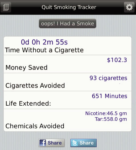 Quit Smoking Home Screen