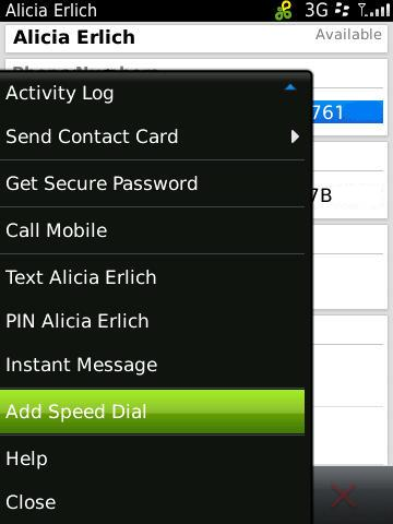 Adding speed dial contacts on the Torch