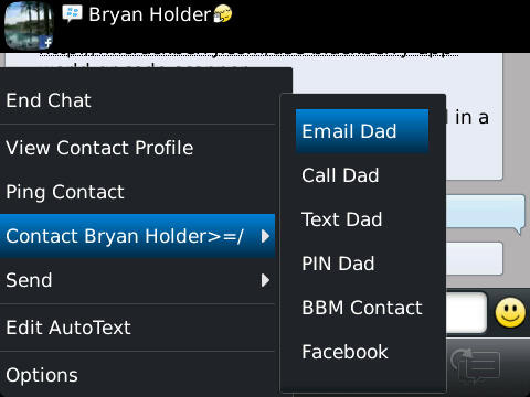 Many ways to contact, even from within BBM