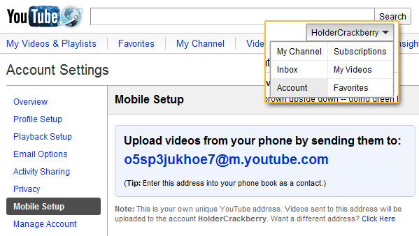 Upload videos by email