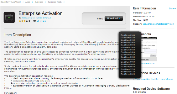 Enterprise Activation Supported Devices