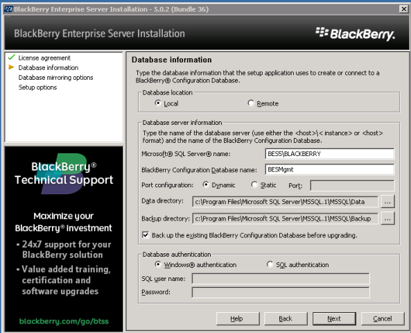BES 5.0 install