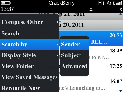 Search by Sender or Subject
