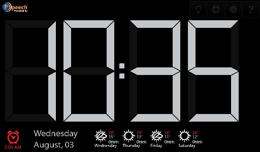 Talk Clock display screen