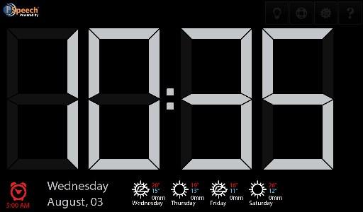 Talk Clock display screen