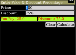 Discount Calculator Screen