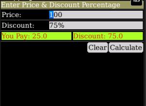 Discount Calculator Screen