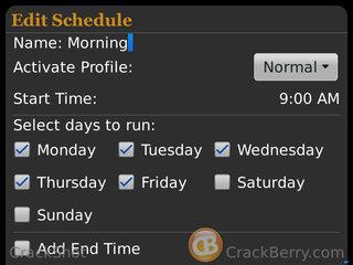 Profile Scheduler Edit Screen