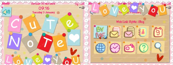 Animated Cute Note Love You Theme