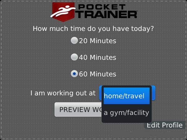 Pocket Trainer Main Screen