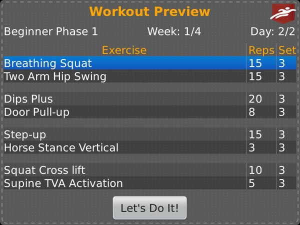 Pocket Trainer Workout Preview