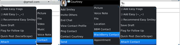 Attach a contact to a message