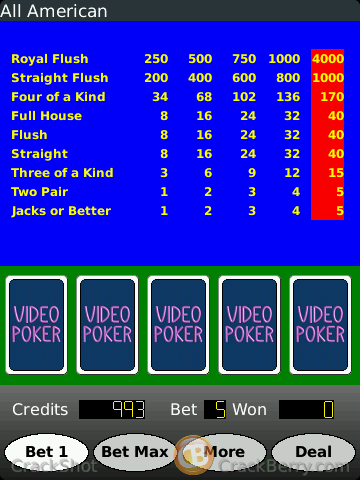 Video Poker for BlackBerry Smartphones