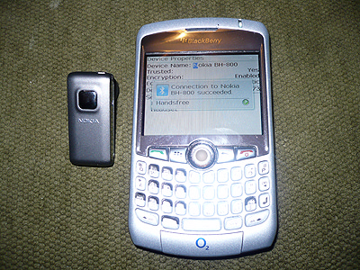 Pairing the BH-800 with my BlackBerry Curve