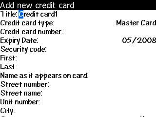BlackBerry Wallet Add Info