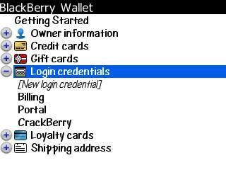 BlackBerry Wallet Main Screen