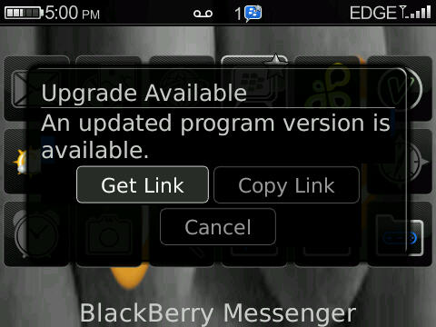 BlackBerry Messenger Prompting to be Updated?