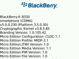 Leaked: BlackBerry Curve 8330 OS 5.0.0.230