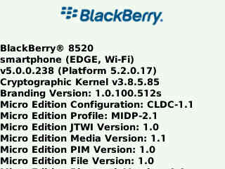 Leaked: Firmware 5.0.0.238 for the BlackBerry Curve 8520