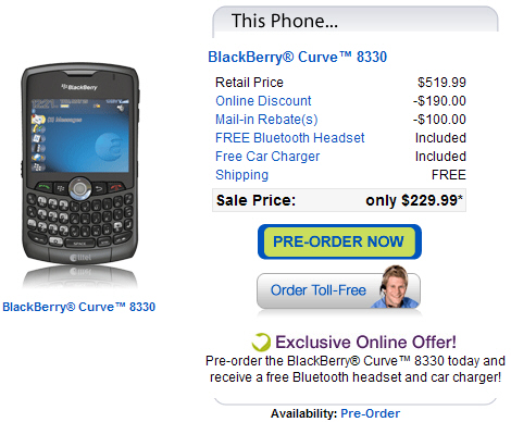 Alltel BlackBerry Curve 8330 Available for Pre-Order